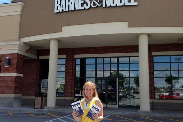 Gail in front of Barnes and Noble with her book