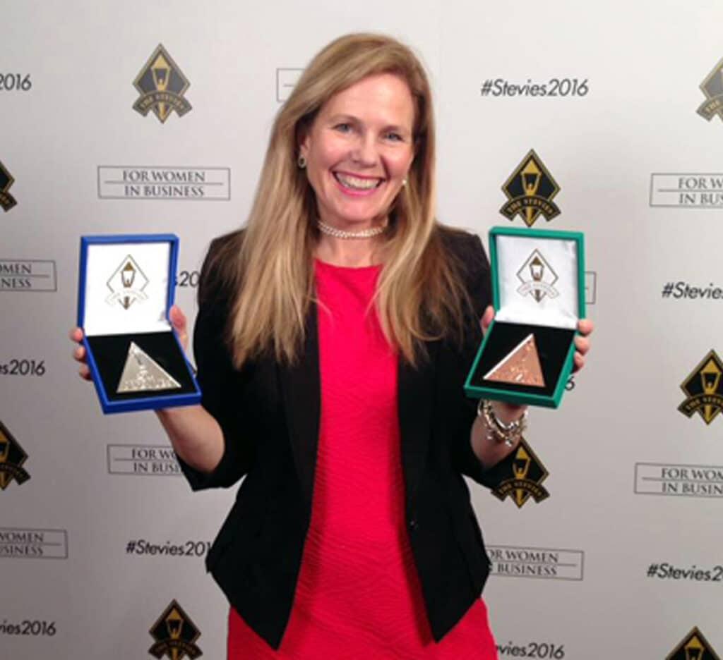 Gail Alofsin with stevie awards