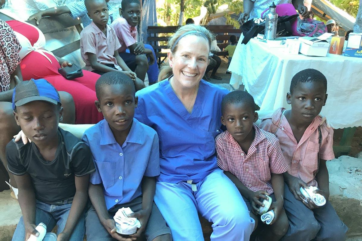 Gail volunteering